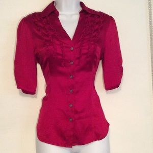 XS Express Design Studio Red V Neck Button Up Top